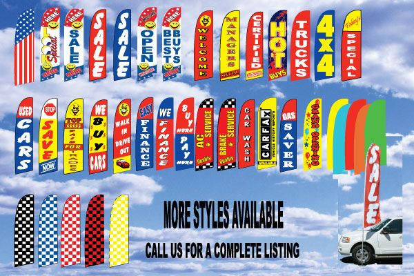 4 Swooper Flags Used Car Truck Auto Dealer Easy Finance Sale Blue White